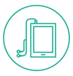 Tablet with headphones line icon vector image