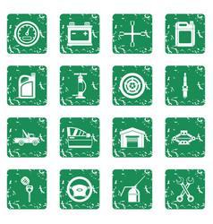 Car maintenance and repair icons set grunge vector