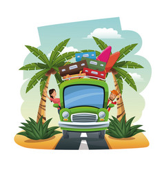 cartoon couple bus baggage surfboard on the vector image