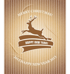 Christmas deer Vintage Christmas card vector image vector image