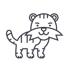 cute tiger line icon sign on vector image vector image