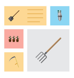 Flat icon dacha set of cutter hay fork flowerpot vector
