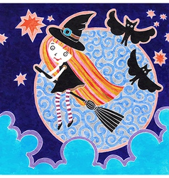 halloween marker postcard with witch little girl vector image