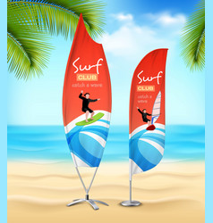 surf club 2 advertsement beach banners vector image