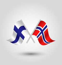 two crossed finnish and norwegian flags vector image vector image