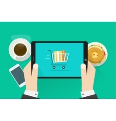 Two hands holding tablet computer device vector image