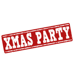 xmas party stamp vector image