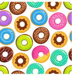 yummy glazed cakes chocolate donuts vector image vector image