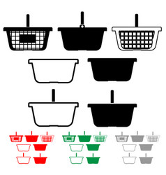 basket for shopping black red green grey color vector image vector image