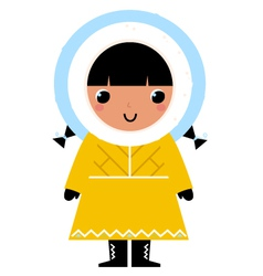 Cute Eskimo girl isolated on white vector image vector image