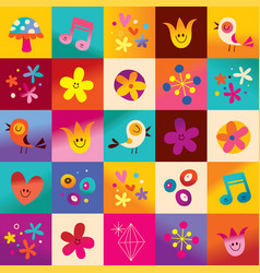 cute hearts birds flowers nature pattern vector image