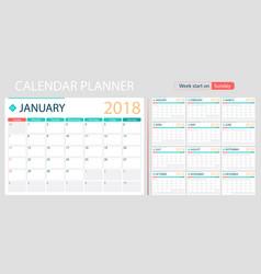english calendar planner for year 2018 week start vector image