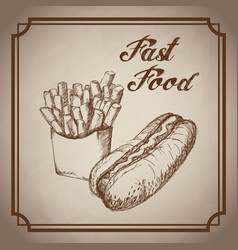 hand drawn hot dog french fries fast food products vector image