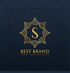 letter s logo style design with golden abstract vector image vector image
