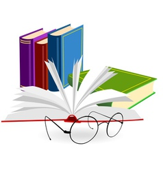 spectacles and opened book on a white background vector image vector image