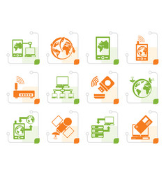 stylized communication computer and mobile phone vector image