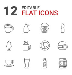12 drink icons vector