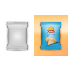 3d realistic foil plastic chips pack template vector image