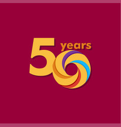 50 year anniversary colorful template design vector