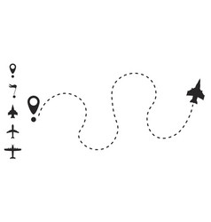 Airplane route line vector