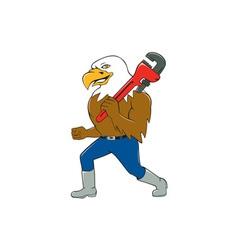 American Bald Eagle Plumber Monkey Wrench Cartoon vector
