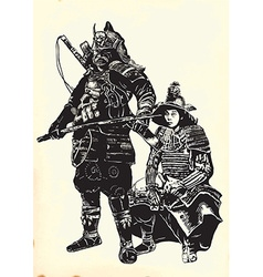 An hand drawn from Japan Culture - Samurais vector image