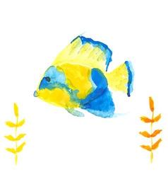 Angelfish yellow blue vector