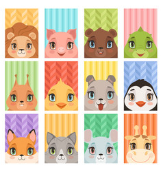 animal kids portrait lion penguin giraffe vector image