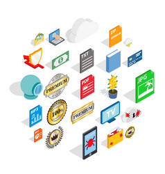Announce icons set isometric style vector