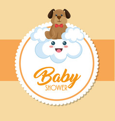 baby shower card with cute dog vector image