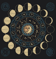 Banner with sun moon and lunar phases vector