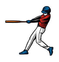 Baseball player hit ball color vector