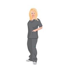 Blonde female medical technician wearing gray vector