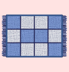 Blue mat with fringe rectangular rug in the cell vector