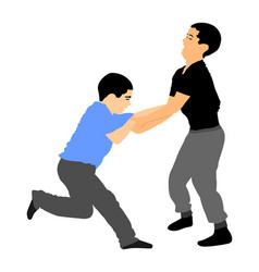 Boys fighting bully abused neighbor kid vector