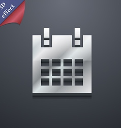 calendar page icon symbol 3D style Trendy modern vector image