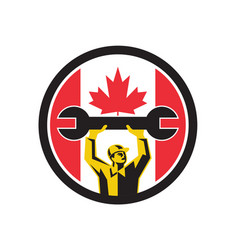 Canadian mechanic canada flag icon vector