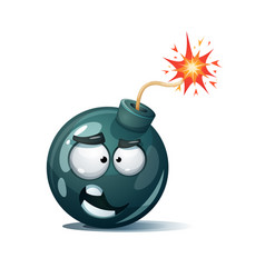 Cartoon bomb fuse wick spark icon funny smiley vector