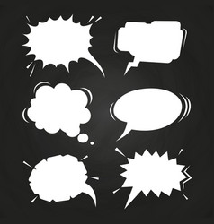 cartoon speech balloons collection on chalkboard vector image