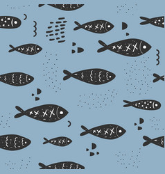Childish nautical seamless patterns with cute fish vector
