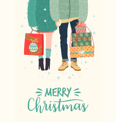 christmas and happy new year with vector image