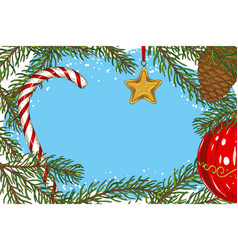 christmas frame with fir branch and toys vector image