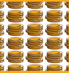 Coins cash money to financial economy background vector