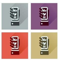 Concept flat icons with long shadow economic vector