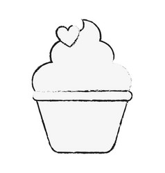 Cupcake with frosting and heart shape sprinkels vector