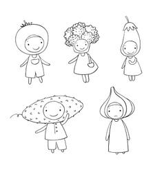 Cute cartoon vegetables vector