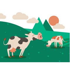dairy farm and a herd cows on a beautiful vector image