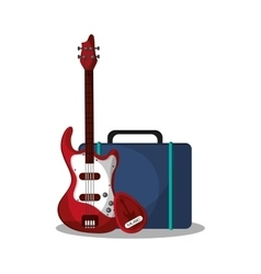 Electric guitar and bag design vector