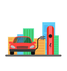 Electric red car and electrical charging station vector