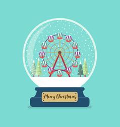 ferris wheel in merry christmas glass ball vector image